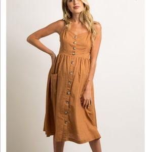Camel Button Pocket Front Maternity Dress sz M